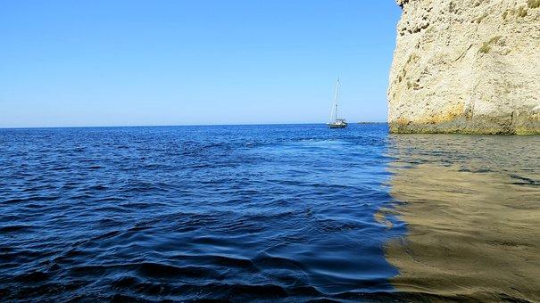 Ionian Sea, Color Blue, The Mediterranean Sea, Ship
