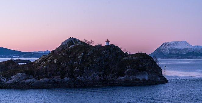 Norway, Coast, Lighthouse, Sunset, Scandinavia, Sea