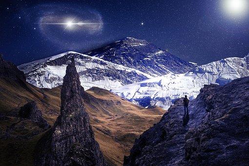 Mountains, Space, Landscape, Nature, Sky, Adventure