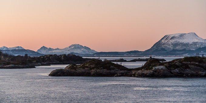 Norway, Coast, Sunset, Rock, Scandinavia, Sea
