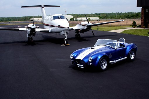 Shelby Cobra, Private Plane, Air Strip, Classic Car
