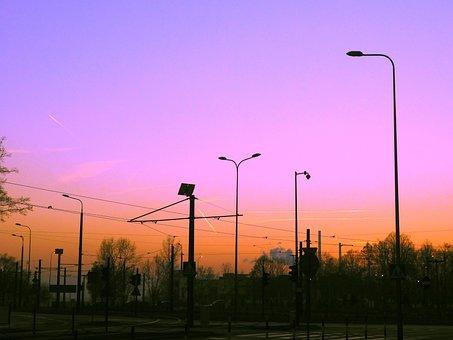 City, Sunset, Roundabout, Abendstimmung, Twilight, Sky