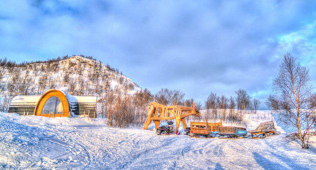 Norway, Kirkenes, Architecture, Snow Moble, Sled