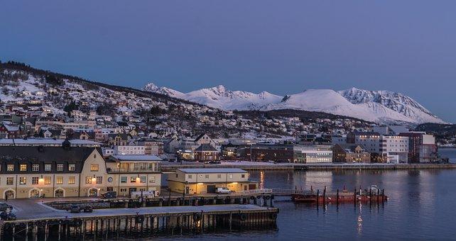 Norway, Coast, Tromso, Architecture, Mountain, Snow