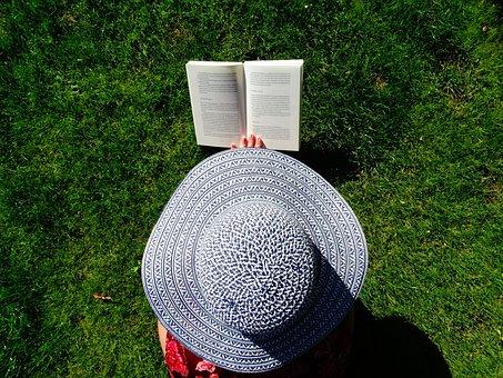 Hat, Garden, Read, Summer, Relax, Books, Grass, Book
