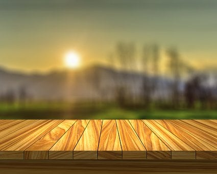 Table, Field, Sunset, Sun, Wood, Dining Room