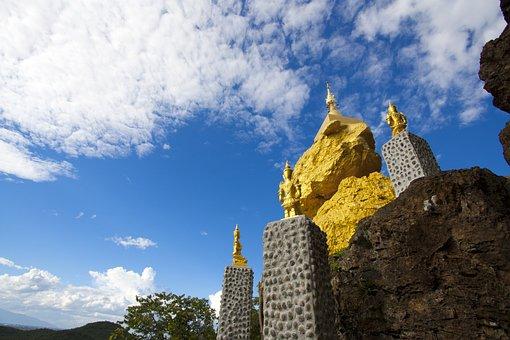 Temple, Gold, Asia, Pagoda, Thailand, Lumphun