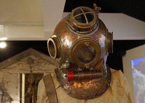Divers Helmet, Nostalgia, Helmet Diver, Water, Navy