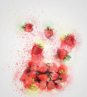 Strawberry, Fruit, Red, Art, Abstract, Strawberries