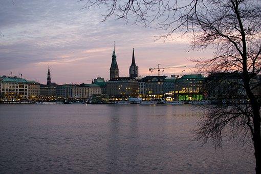 Hamburg, Alster, Jungfernstieg, Abendstimmung