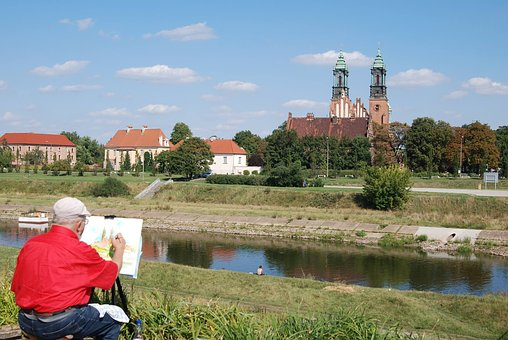 Painter, Painting, Church, River, Artist, Architecture