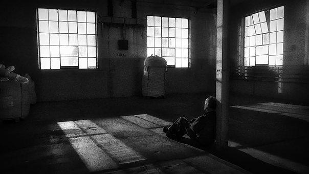Night, Shadow, Light, Black White, Window