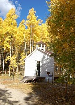 Autumn, Fall, Church, Ghost Town, St Elmo, Yellow