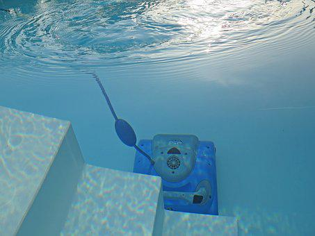 Swimming Pool, Cleaning, Robot, Blue, Stairs, Water