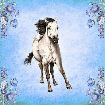 Painting, Digital Artwork, Horse, Running, Art, Drawing