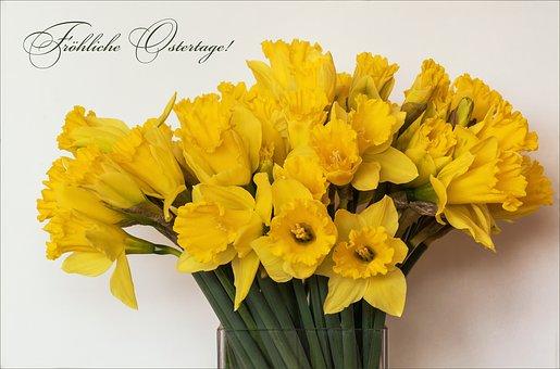 Nature, Flowers, Bouquet, Spring, Easter, Osterkarte