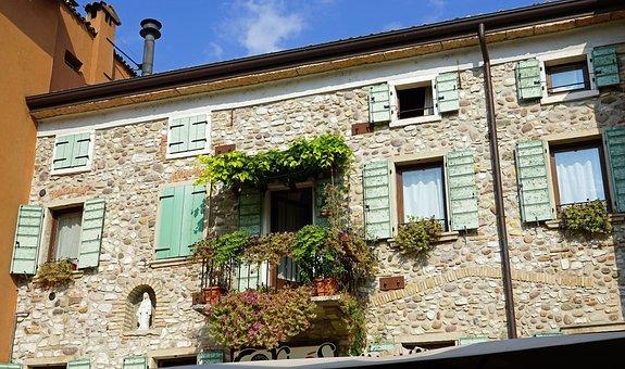 Lazise, Garda, Italy, Facades, Row Of Houses, Flowers