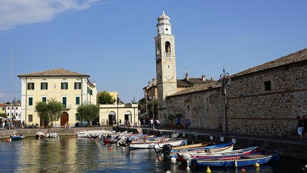 Lazise, Garda, Italy, Church, Boat Harbour, Promenade