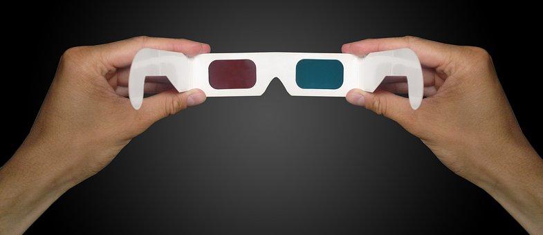 Glasses, Stereoscopic 3d, 3d Cinema, Glasses In Hand