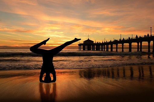 Headstand, Yoga On The Beach, Sunset Beach, Orange Sky