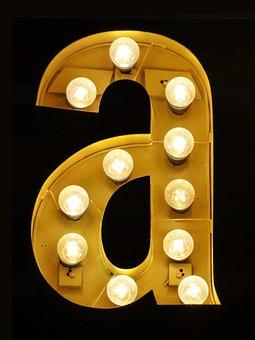 Letter A, Letter, Light Bulbs, Theatre
