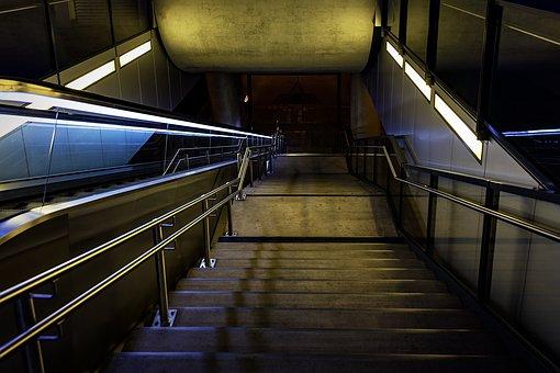Night Photograph, Railway Station, Stairs, Night
