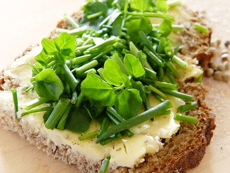 Watercress, Chives, Bread And Butter, Salt, Pepper