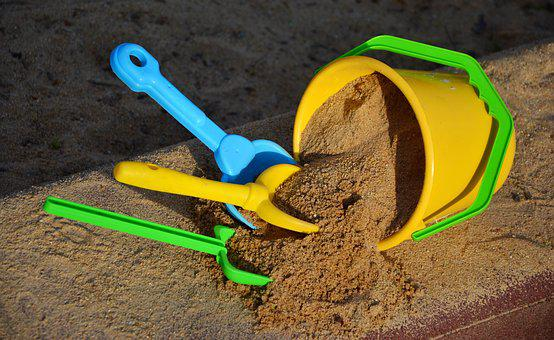 Sand, Sand Bucket, Scoop, Cooperation, Together