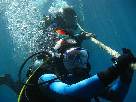 Underwater, The Descent, Rope, Sea, Red Sea
