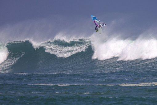 Wind Surfing, Big Waves, Spray, Power, Ujung Origin