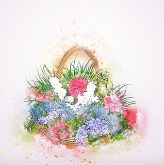 Flowers, Basket, Colors, Art, Abstract, Vintage, Spring