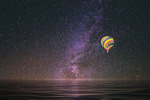 Hot Air Balloon, Stars, Reflection, Flying, Journey