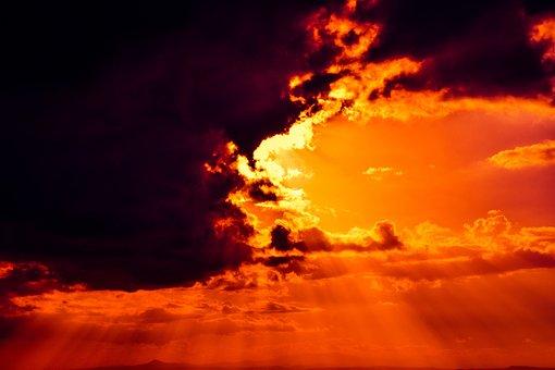 Sky On Fire, Revelation, Clouds, Light, Sunbeam