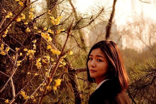 Spring, Girls, Chunmei, Flowers, Sunshine