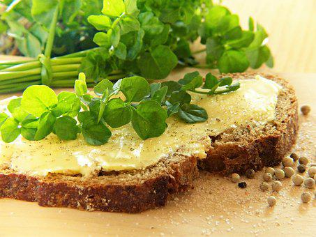 Watercress, Frisch, Bread, Bread And Butter, Salt