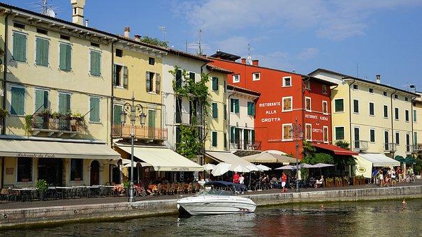 Lazise, Waterfront, Garda, Italy, Facades
