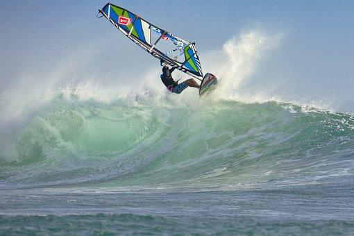 Wind Surfing, Wave, Splash, Speed, Ujung Origin Coast