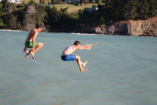 Boys, Jumping, Child, Activity, Active, Action, Diving