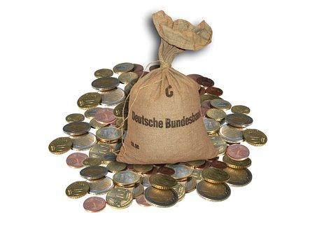 Money, Money Bag, Euro, Coins, Loose Change, Bag, Save