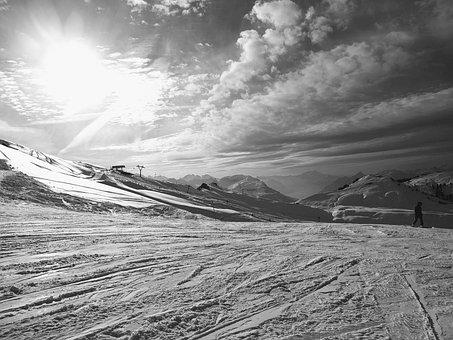 Snow, Mountains, Black And White, Hoch-ybrig