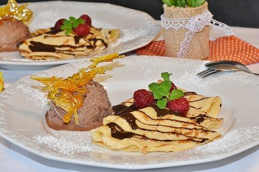 Pancakes, Eispalatschinken, Ice, Chocolate