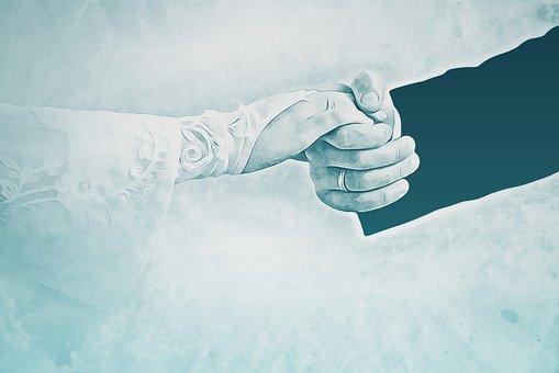 Bride, Fiancé, Digital, Graphics, Hands, Glove, Wedding