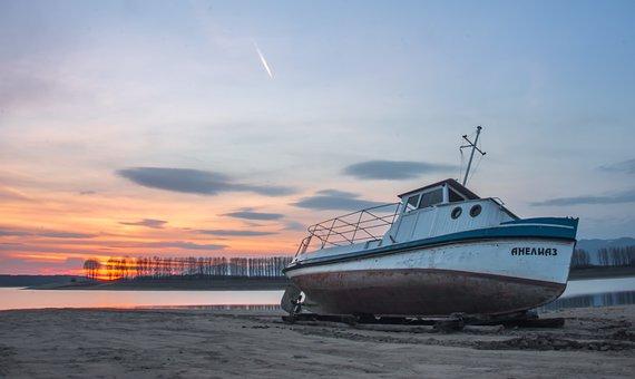 Sunset Over The Lake, Sunset, Lake, Boat, Fishing Boat