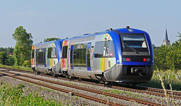 Diesel Railcar, Colorful, Sncf, French, Cross-border