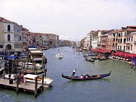 Venice, Channel, Italy, Gondolas, Landscape