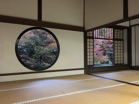 Autumnal Leaves, Temple, Tatami Mats, Japanese Style