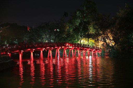 Hanoi, Viet Nam, Bridge, Night