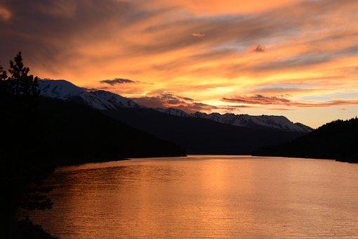 Sunset, Lake, Colorado, Orange, Sky, Water, Landscape
