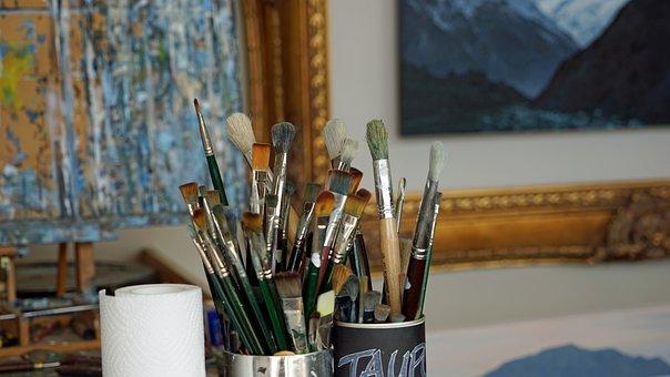 Brush, Atelier, Painting, Painting Studio, Paint