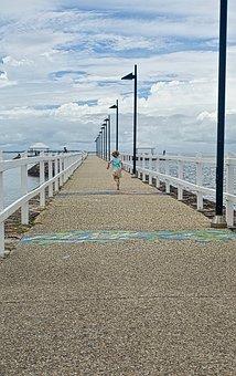 Pier, Running, Child, Perspective, Freedom, Outdoor